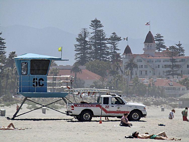 California USA Architecture Hotel Del Coronado Coronado Coronado Beach Life Guard Stand Life Guard Truck