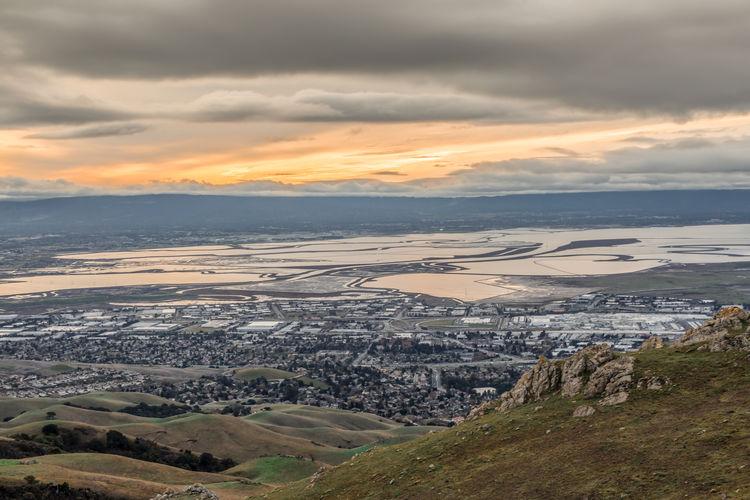 San francisco bay area stormy sunset. mission peak regional park, alameda county, california, usa.