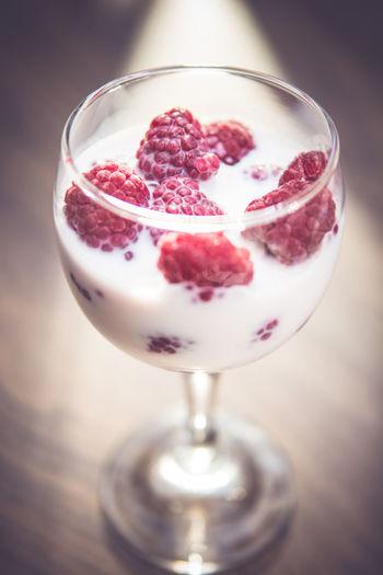 Raspberries in milk as a fast healthy breakfast Breakfast Food And Drink Healthy Light Liquid Lunch Milk Morning Raspberries