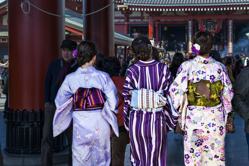 Mimono City Colorful Female Girl Japan Kimono Leisure Activity National Costume Street Tokyo, Tour Tourism Tourist Destination Travel Apparel Casual Clothing City Life Lifestyles Outdoors Spring
