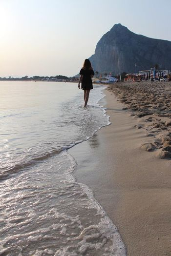Sicily Italy Land Sky Beach Water Real People Sea Beauty In Nature Lifestyles Nature Mountain Scenics - Nature Rear View Leisure Activity Full Length People Non-urban Scene Sand Walking Outdoors
