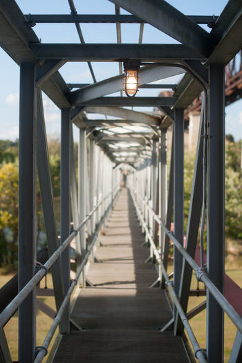 Illuminated empty footbridge