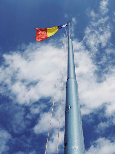 Waving flag... Romania Red Metal Structure Metal ShotOnIphone National Flag Military Flagstaff Flagpole Identity Freedom Sky Low Angle View Flag Patriotism Cloud - Sky Nature Day Pole Waving Tall - High Multi Colored Symbolism Environment Wind Pride Blue Emotion Outdoors No People