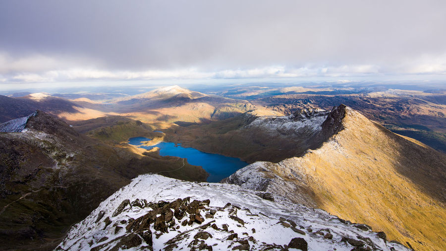 View from up there Peak Lake Snow Snowdonia Snowdon Wales Sunset Sky Landscape Cloud - Sky Rocky Mountains Snowcapped