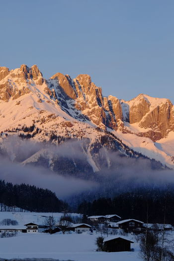 Winter Cold Temperature Snow Sky Mountain Scenics - Nature Beauty In Nature Tranquil Scene Tranquility Nature Clear Sky Mountain Range Environment Non-urban Scene No People Snowcapped Mountain Idyllic Landscape Day Outdoors Sunset Tyrol Wilder Kaiser Skiing