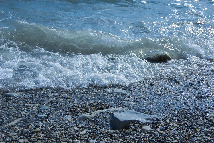 coastal part of the Black sea, sea waves, rocky beach Water Sea Motion No People Nature Wave Aquatic Sport High Angle View Beauty In Nature Day Land Sport Rock Beach Solid Outdoors Rock - Object Power Power In Nature Flowing Water
