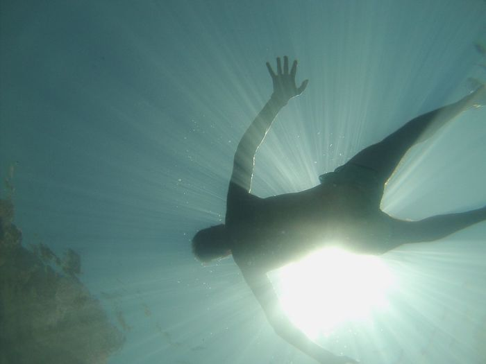 Close-up of silhouette swimming underwater