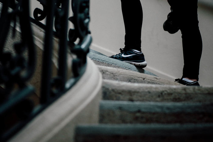 Casual Clothing Close-up Footwear Low Section Nike Selective Focus Shoes Staircase Stairs