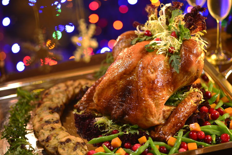 Close-up of meat on table during christmas