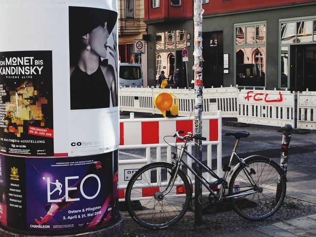 Standing on a street corner in Berlin Poster Street Photography Bicycle Transportation Text Communication Mode Of Transportation Architecture Land Vehicle No People Sign Street Outdoors