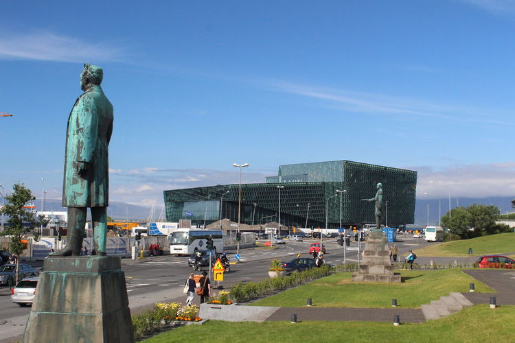 Impressions of Reykjavik and Island Nature Day Island Reykjavik Architecture Statue Sculpture Sky Art And Craft Human Representation Built Structure City Building Exterior Car Representation Motor Vehicle Memorial Incidental People Transportation Male Likeness Mode Of Transportation Land Vehicle