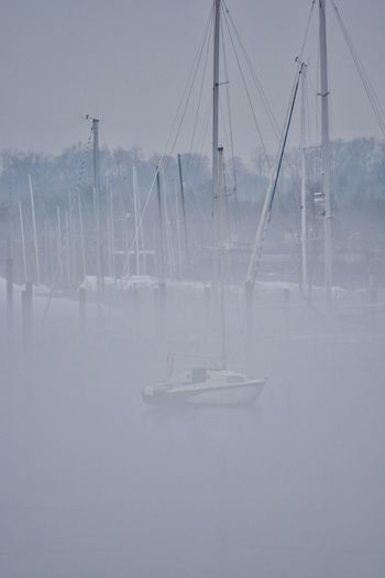 Foggy Foggy Port Washington New York Long Island Fog Cold Temperature Winter Outdoors No People Day Water Sailboat Harbor