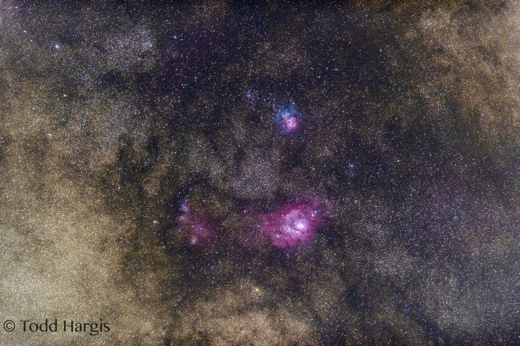 The Lagoon and Triffid nebula in Saggitarious Nikon D810 Pedernales Falls State Park Nikon 300mm F/2.8 G VR II Astrophotography