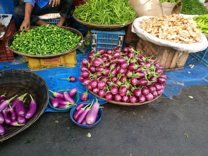 High Angle View Of Fresh Vegetables At Street Market For Sale