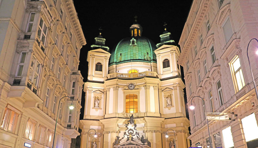 The Peterskirche (St. Peters Church) night view, Vienna, Austria Built Structure Architecture Building Exterior Place Of Worship Belief Religion Dome Illuminated Low Angle View Spirituality Building No People Travel Destinations City Lighting Equipment Night History Architectural Column Ornate The Peterskirche (St. Peters Church) Night View, Vienna, Austria The Peterskirche (St. Peters Church) Night View, Vienna The Peterskirche (St. Peters Church) Night View The Peterskirche (St. Peters Church) The Peterskirche St. Peters Church