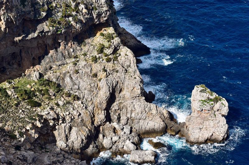 Rock - Object Rock Formation Nature Geology Sea High Angle View Beauty In Nature Scenics Physical Geography No People Outdoors Day Cliff Tranquility Water Travel Destinations Blue Spain🇪🇸 D'es Colomer Mallorca Ocean Mallorca (Spain) Tranquil Scene Tranquility Beauty In Nature