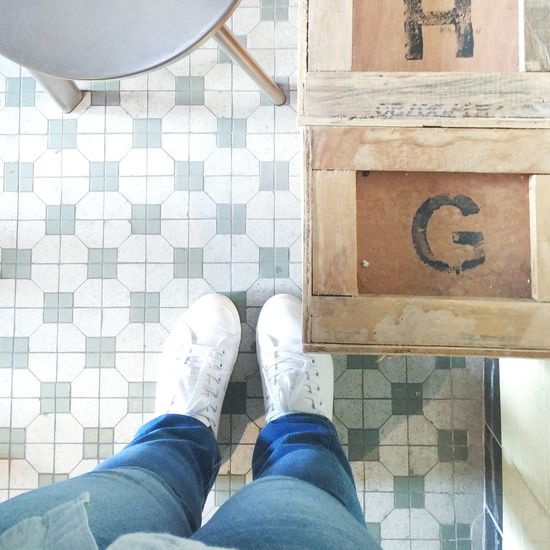 Malaysia Cafe Old Tiles White Shoes White Leg Hanging Out Hangout Human Leg One Person Standing Real People Adult