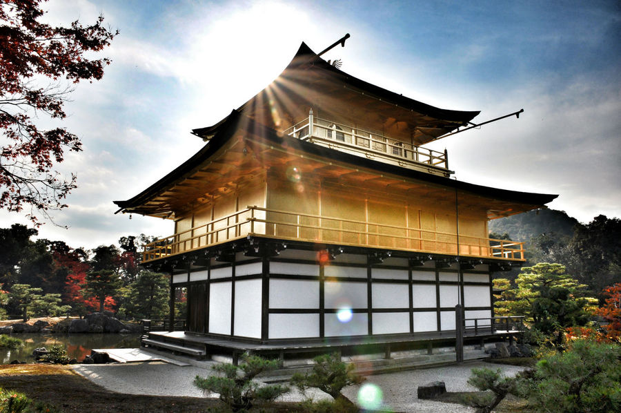 Architecture Gold Colored Sky Built Structure Cultures Tradition Architectural Feature Building Exterior No People Cloud - Sky City Gold Place Of Worship Tree Outdoors Day Rokuon-ji Kinkaku-ji Japan Travel Photography Temple Traditional Kyoto Nature Vacations