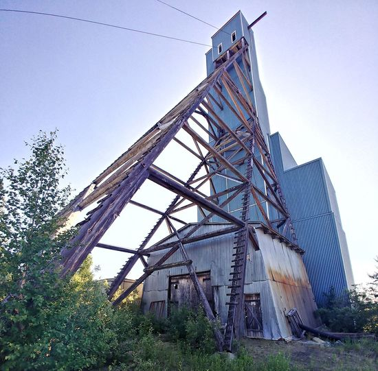 Abandoned Mine Shaft Mining Abandoned Old Headframe Wooden Gold Mine Industrial Outdoors Forgotten
