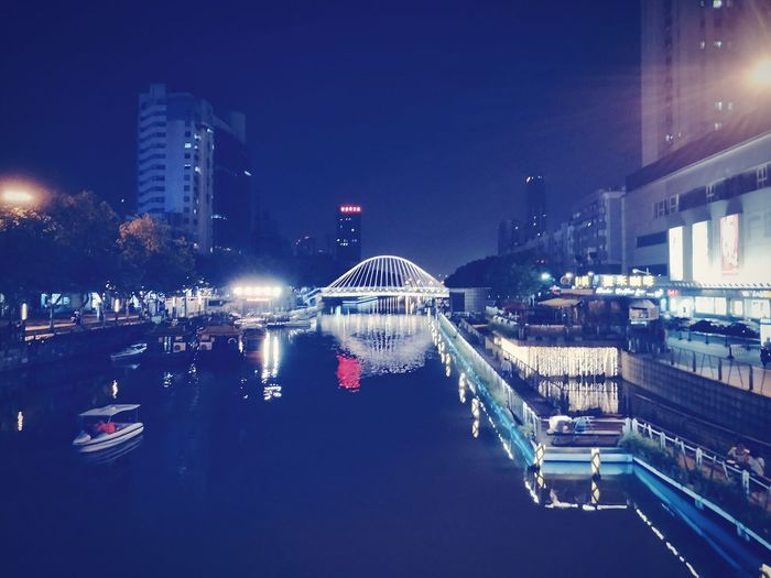 twinNight Illuminated Water Reflection City Nightlife Architecture Travel Destinations Cityscape Building Exterior Urban Skyline Nautical Vessel Built Structure Outdoors No People Sky