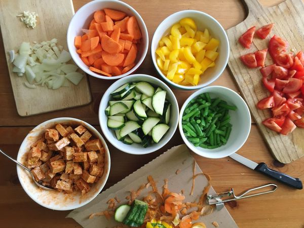 Food Cooking Vegetables Vegetarian Food Lunch Cutting Colors Colorful AssoRted Healthy Eating Tofu