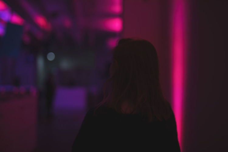 One Person Adult Hair Women Indoors  Long Hair Illuminated Hairstyle Headshot Rear View Portrait Focus On Foreground Pink Color Real People Standing Night Nightlife Emotion Lifestyles Purple Contemplation Depression - Sadness This Is Natural Beauty Autumn Mood EyeEmNewHere The Modern Professional 50 Ways Of Seeing: Gratitude Humanity Meets Technology My Best Photo