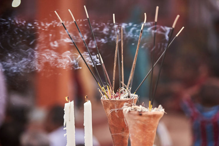 Close-up of burning incense