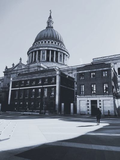 St. Pauls London Street Light And Shadow Blackandwhite Architecture Dome Building Exterior Built Structure Travel Destinations Outdoors Day City People