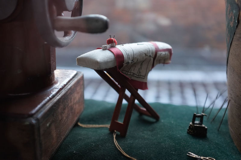 Miniature model ironing board and iron Household Tiny Doll's House Focus On Foreground Ironing Board Little Little Things Miniture Small