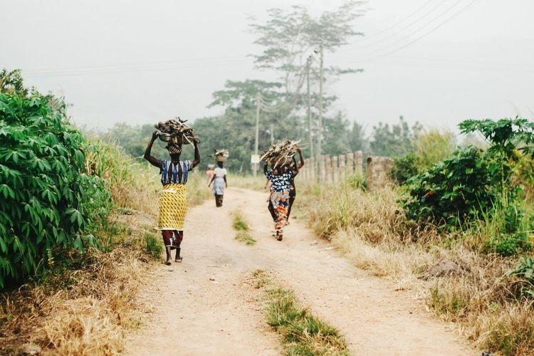 Women walking on road