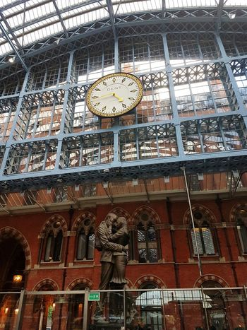 St Pancras Station Clock Statue Architecture Built Structure Day No People Low Angle View Outdoors Building Exterior