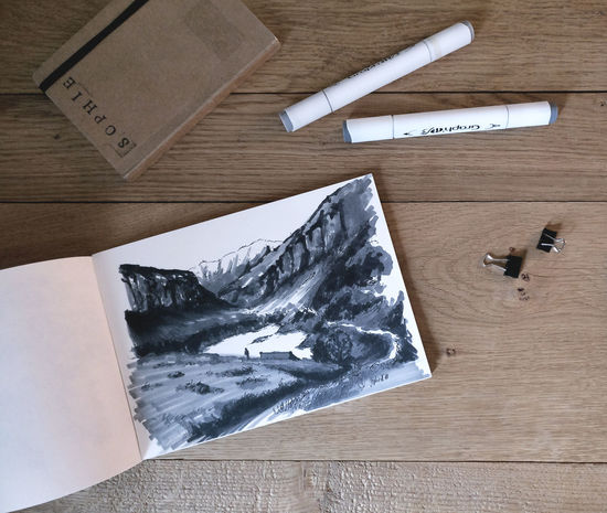Paper High Angle View Wood - Material Sketch Pad Indoors  No People Day Art Sketch Desk Pencil Landscape Wanderlust Lake Mountains