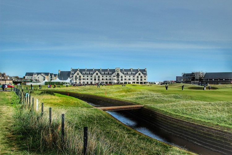 Carnoustie golf Course and hotel. Venue for the 2018 British Open. 18th Fairway Angus Golf Golf Course Burn Carnoustie Hotel Links Golf The Open
