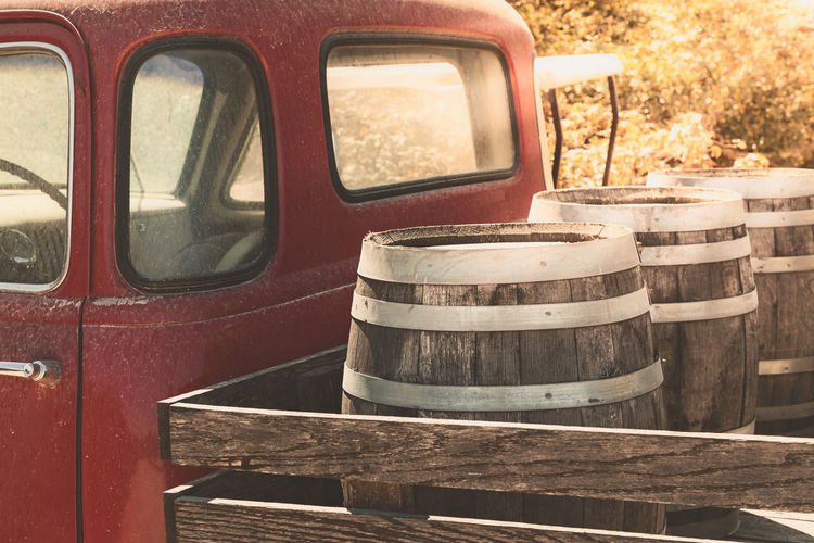 Red, old pickup truck and wine barrels Wine Truck Vintage Barrel Delivery Open California Old Vineyard Light Barrels Blue Unusual Pickup Sonoma Business Background Travel Retro Nobody Drink Transport Beer Wooden France Valley Outdoors Country Car Vehicle Wines Back Italy Red