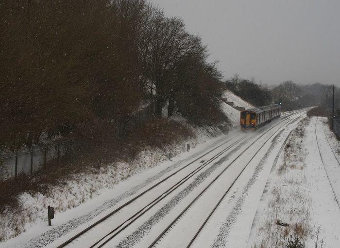 Transportation Snow Winter Cold Temperature Railroad Track Rail Transportation Weather Mode Of Transport Train - Vehicle Snowing Tree The Way Forward Public Transportation Journey Travel Land Vehicle Outdoors No People Bare Tree