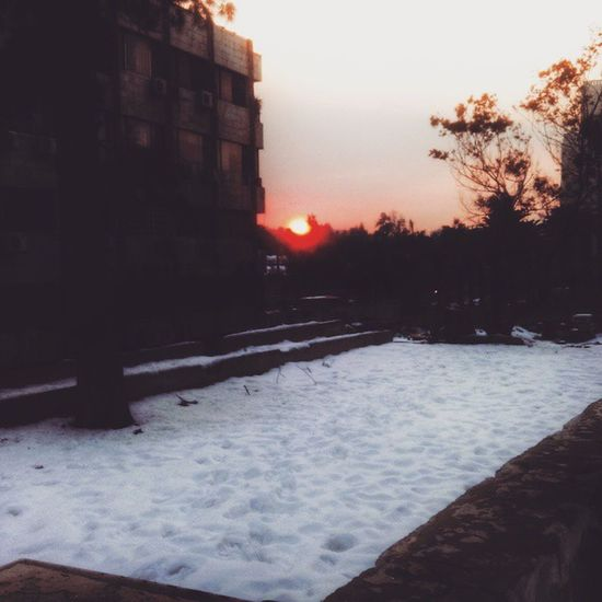 It used to be; when the sun sets, love raises, now it's more like; when the sun sets, faces changes....and memoirs craves. Red Sunset Damascus  Syria  SnowWinter