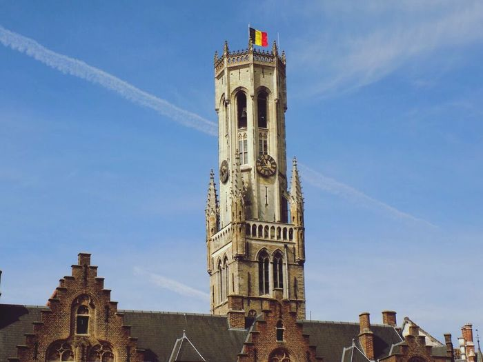 Architecture Built Structure Building Exterior History Flag Day Religion Sky Low Angle View Blue Outdoors Spirituality Travel Destinations No People Belgium Edendessart Brugge Architecture Window