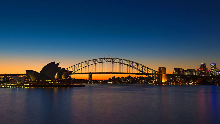 Scenic view of sydney harbor bridge against clear sky during sunset
