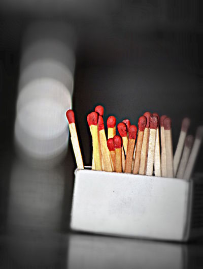 Close-Up Of Matchsticks In Box