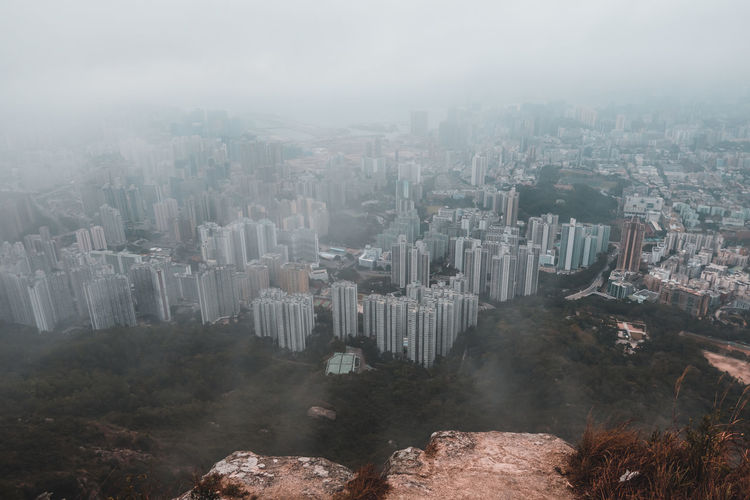 Hong kong city seen from lion rock peak