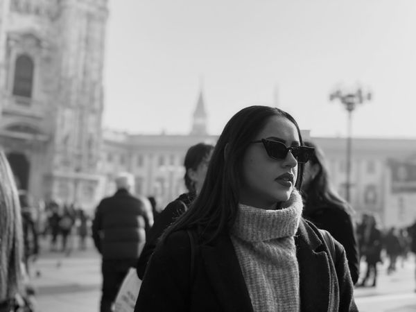 Art is Everywhere Walking Art Beauty Black And White Photography Street Model Duomo Di Milano Duomo Real People Built Structure Lifestyles Architecture Young Adult Incidental People Leisure Activity Building Exterior Sky Clothing Winter Adult Women Focus On Foreground Warm Clothing Portrait City Young Women People Glasses