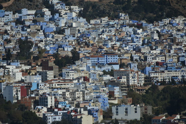 Architecture Built Structure Day Outdoors Travel And Tourism Morocco Daytime Outdoor Photography No People Building Exterior Building City Crowded Community High Angle View Sunlight Full Frame Crowd Chefchaouen Blue City