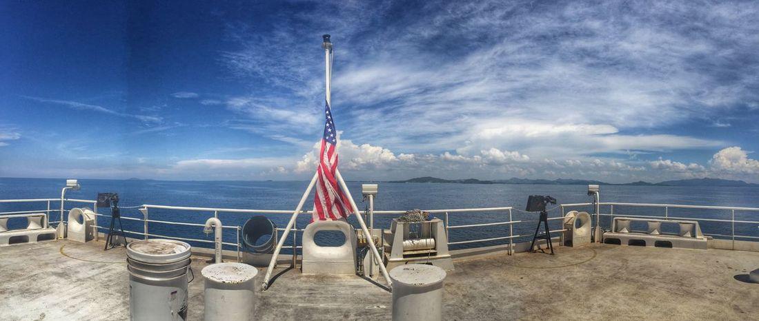 USNS Mercy. Hospital Ship Horizon IPhoneography Open Sea HDR Navy Roxas City Usns Mercy Clouds Sky