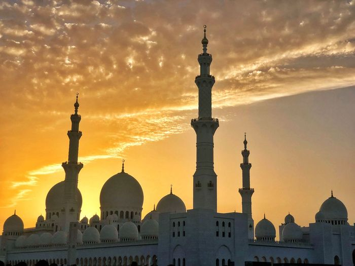 View of mosque against sky during sunset