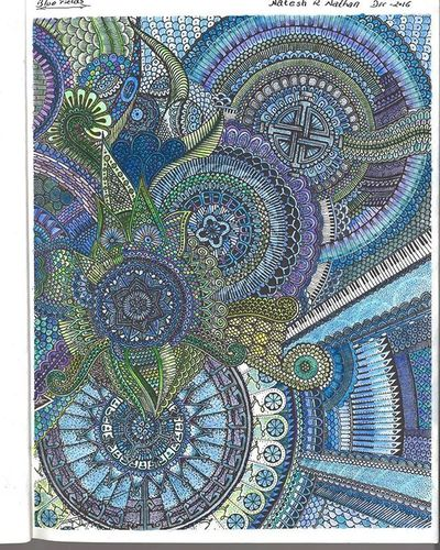 Adultscancolortoo Adultcoloringbook Colorpencil Blue Color Insane Details Mumbai PeterDeligdisch PeterDraws