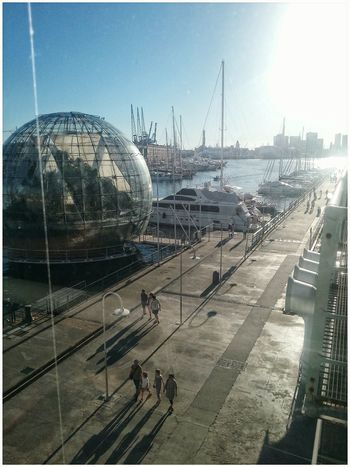 Biosfera at Porto Antico, Genova Genoa Through The Window Smartphone Photography Note 2 Harbour View.Architecture Day Outdoors Sea Sky Through The Glass Nautical Vessel . Quay Quayside City