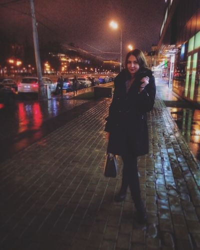 Night City Only Women Portrait Adult One Woman Only Looking At Camera Illuminated Adults Only City Life Winter Street City Street Outdoors Bridge - Man Made Structure Travel Destinations Women One Person People Full Length City Life Model EyeEm Selects Beauty Moscow