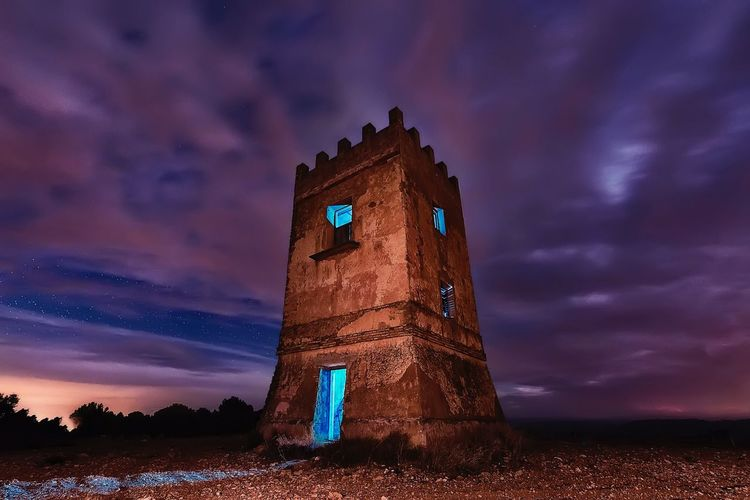 Tower Iluminated Abandoned Buildings Abandoned Places Abandoned Clouds And Sky Clouds Sky Cloud - Sky Low Angle View Night No People Architecture Outdoors