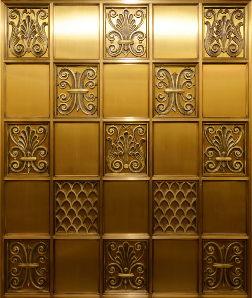 Brass Walls. Pentax PENTAX K-1 Business Finance And Industry Pentax 15-30 F/2.8 Los Angeles, California Brass Engraving Elevator Lift City Center Historical Reflection Clean Brushed Metal Art ArtWork Art And Craft Sculpture Square Shape Craft
