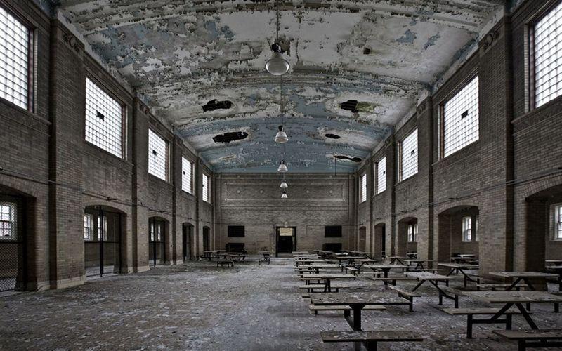 Abandoned Jail Blackandwhite